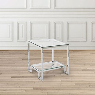 Demster Glass Stainless Steel End Table