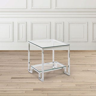 Demster Glass and Metal Square End Table
