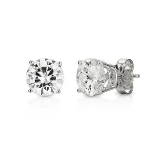 Charles & Colvard 14k White Gold 3.00 TGW Forever Brilliant Moissanite Solitaire Stud Earrings