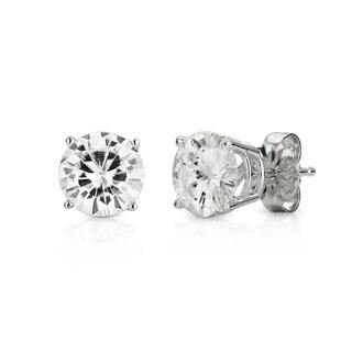 Moissanite by Charles & Colvard 14k White Gold 3.00 TGW Solitaire Stud Earrings