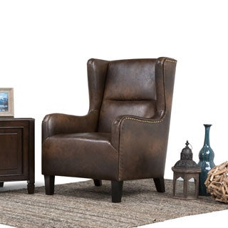 WYNDENHALL Manford Distressed Brown Bonded Leather Wingback Chair Part 40