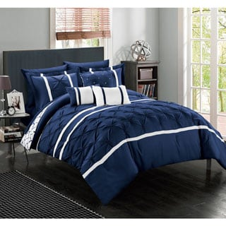 Chic Home Edney Bed in a Bag Navy Comforter 10-Piece Set