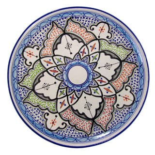 Handmade Le Souk Ceramique Tibarine Round Stoneware Platter (Tunisia)|https://ak1.ostkcdn.com/images/products/P19180425a.jpg?impolicy=medium