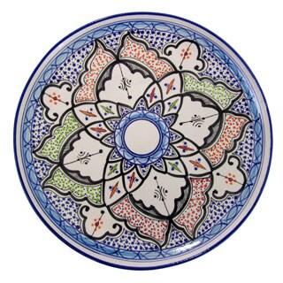 Handmade Le Souk Ceramique Tibarine Round Stoneware Platter (Tunisia)