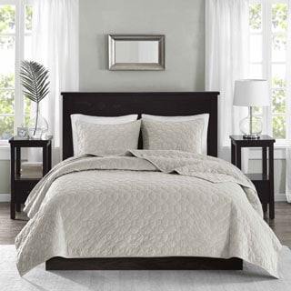 Madison Park Emery Ivory Velvet Coverlet Set
