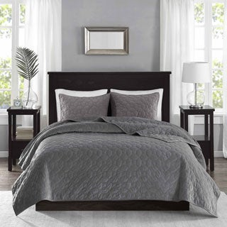 Madison Park Emery Grey Velvet 3-piece Coverlet Set