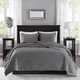 Madison Park Emery Grey Velvet 3-piece Coverlet Set