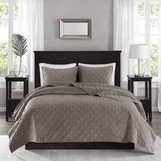 Madison Park Emery Taupe Velvet 3-piece Coverlet Set