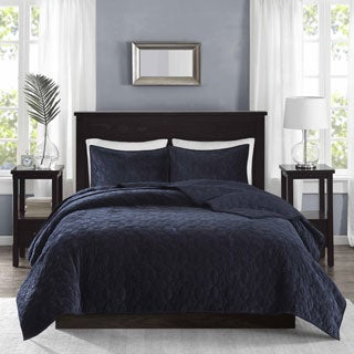 Madison Park Emery Navy Velvet 3-piece Coverlet Set