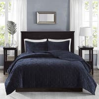 The Gray Barn Sleeping Hills Navy Velvet 3-piece Coverlet Set