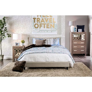 Furniture of America Mistelle Contemporary Linen-like Fabric King-size Platform Bed