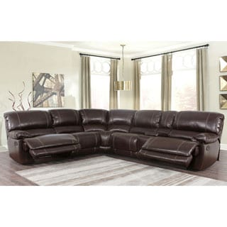 Abbyson Lockwood 3-piece Brown Leather Recliner Sectional