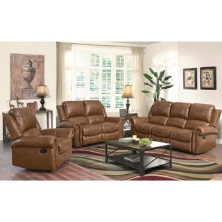 Abbyson Skyler Cognac 3 Piece Leather Reclining Set