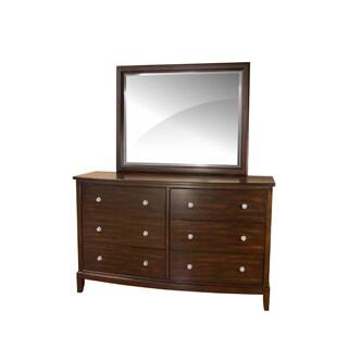 LYKE Home Dena Cherry 6-drawer Dresser and Mirror Set