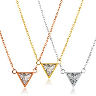 ELYA Triangle Cut Cubic Zirconia Stainless Steel 18-Inch Cable Chain Necklace