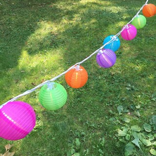 Electric String Lights with Round 3-inch Nylon Lanterns - Multi Color (10 Count)