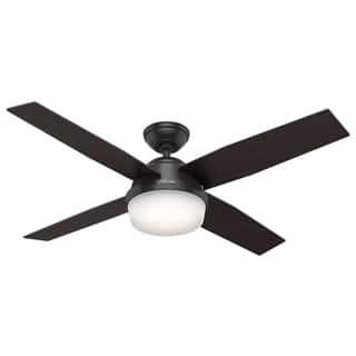Buy outdoor ceiling fans online at overstock our best lighting hunter fan dempsey collection matte black metal and glass ceiling fan with 4 reversible blackened oak aloadofball Gallery