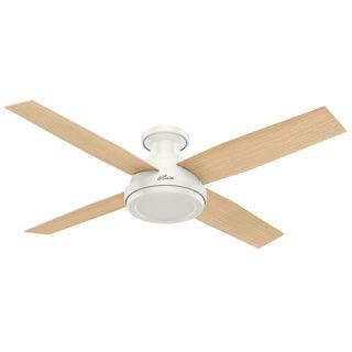 Hunter Fan Dempsey Collection 52-inch Fresh White Fan with 4 Blonde Oak/Fresh White Reversible Blades