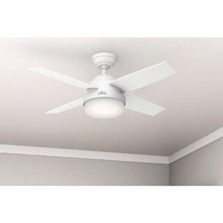 Hunter Fan Dempsey Collection Fresh White/Blonde Oak 44-inch 4 Reversible Blades Ceiling Fan