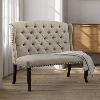 Furniture of America Telara Contemporary Tufted Wingback Loveseat Dining Bench