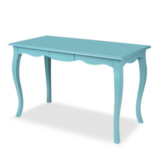 Palermo White/Blue Wood Writing Table and Computer Desk with Curved Legs and Drawer