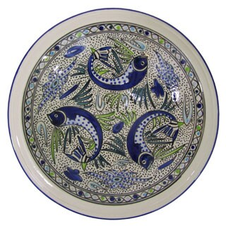 Large Stoneware Serving Bowl  Aqua Fish Design, by Le Souk Ceramique (Tunisia)