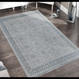 Hand-knotted Bethel Sky Blue New Zealand Wool Area Rug (8' x 10')