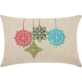 Mina Victory Home for the Holiday Embroidered Ornaments Natural Throw Pillow (12-inch x 18-inch) by Nourison