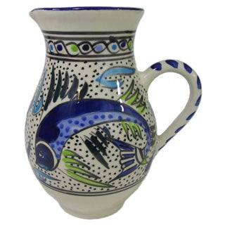 Le Souk Ceramique Aqua Fish Design Large Stoneware Pitcher (Tunisia)