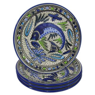 Set of 4 Le Souk Ceramique Aqua Fish Design Stoneware Side Plates (Tunisia)