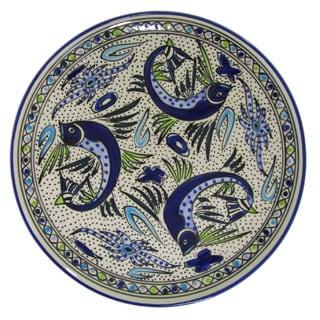 Handmade Le Souk Ceramique Aqua Fish Design Round Stoneware Platter (Tunisia)
