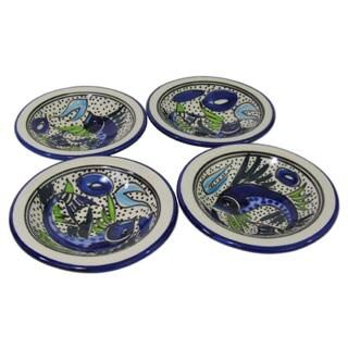 Set of 4 Le Souk Ceramique Aqua Fish Design Round Stoneware Sauce Dishes (Tunisia)