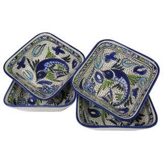 Set of 4 Le Souk Ceramique Aqua Fish Design Square Stoneware Pasta/Salad Bowls (Tunisia)
