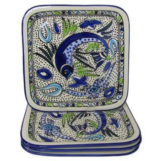 Handmade Set of 4 Le Souk Ceramique Aqua Fish Design Square Stoneware Plates (Tunisia)
