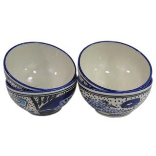 Handmade Set of 4 Le Souk Ceramique Aqua Fish Design Stoneware Soup/Cereal Bowls (Tunisia)