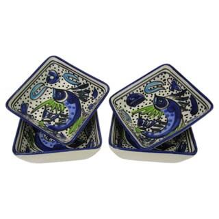 Set of 4 Le Souk Ceramique Aqua Fish Design Square Stoneware Sauce Dishes (Tunisia)