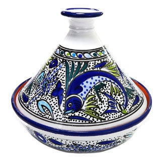 Handmade Cookable Tagine-30 - Aqua Fish Design, by Le Souk Ceramnique (Tunisia)