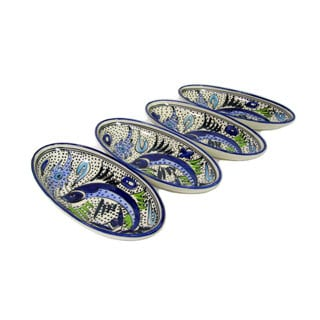 Set of 4 Le Souk Ceramique Aqua Fish Design Small Stoneware Oval Platters (Tunisia)