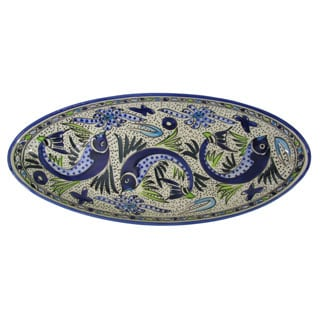 Handmade Le Souk Ceramique Aqua Fish Design Extra Large Stoneware Oval Platter (Tunisia)