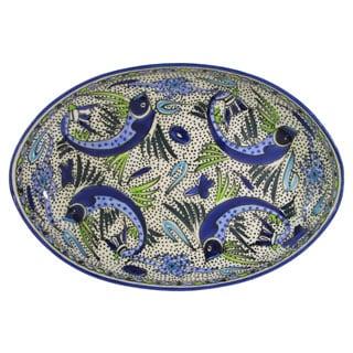 Le Souk Ceramique Aqua Fish Design Stoneware Poultry Platter (Tunisia)