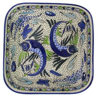 Handmade Le Souk Ceramique Aqua Fish Design Square Stoneware Serving Bowl (Tunisia)