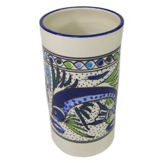 Handmade Le Souk Ceramique Aqua Fish Design Stoneware Utensil/Wine Holder (Tunisia)