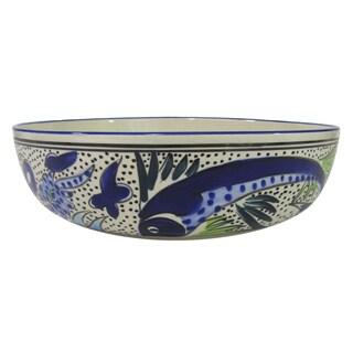 Handmade Le Souk Ceramique Aqua Fish Design Wide Stoneware Salad/Pasta Bowl (Tunisia)