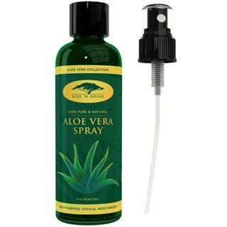Rise 'N Shine 16 oz. Organic Aloe Vera Spray Provides Relief for Sunburn, Eczema, Dry Damaged Skin, Razor Bumps and Acne