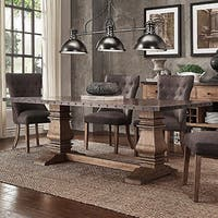Janelle Wood and Zinc Balustrade 84-inch Rectangle Dining Table by iNSPIRE Q Artisan