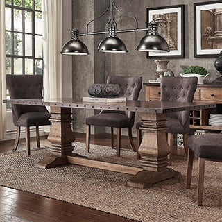 Voyager Wood and Zinc Balustrade 84-inch Rectangle Dining Table by iNSPIRE Q Artisan
