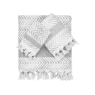 Authentic Hotel and Spa Anya Dove Grey Turkish Cotton Textured Weave Bath Towels and Sets