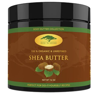 Rise 'N Shine 16 oz. Raw Organic Unrefined Shea Butter for Soap Making, Lotion, Shampoo, Lip Balm and Hand Cream Recipes