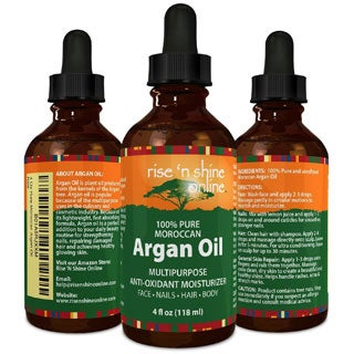 Rise 'N Shine Pure Moroccan 4 oz. Argan Oil Best for Hair, Skin and Nails - Excellent Hair Growth and Loss Treatment