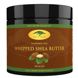 Rise 'N Shine 8 oz. Whipped African Shea Butter Cream Body Butter Improves Blemishes, Stretch Marks, Scars, Wrinkles and Eczema